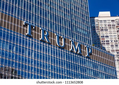 October 8 2017. Trump Logo on Trump International Hotel and Tower, Chicago, IL, USA.