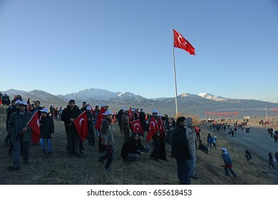 OCTOBER 9,2014 ERZURUM TURKEY.Celebration the victory of Russian Turkish war that happened in 1877.Annual march of the Erzurum people to the front line.