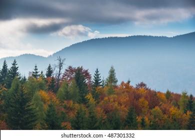 October autumn scenery in remote mountain area in Transylvania