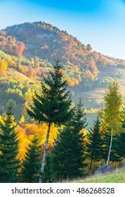 October autumn scenery in remote rural area in Transylvania