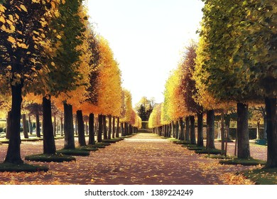 October landscape / autumn in the park, yellow October trees, alley in the autumn landscape