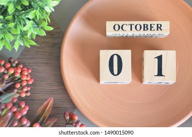 October month design with flower and earthenware, 1.