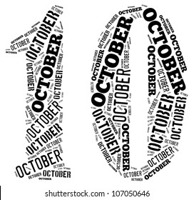 October text graphics composed in number 10 on white background