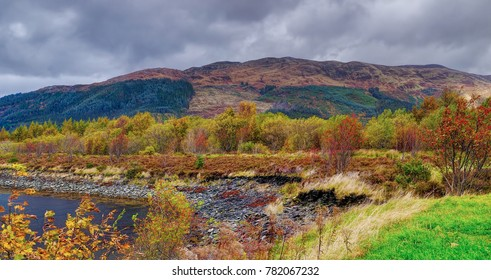 October wind. The Glencoe. River Coe valley. Cloudy and rainy october midday. Scottish highland, Scotland.