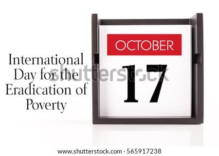October 17 International Day Eradication Poverty Calendar Stock