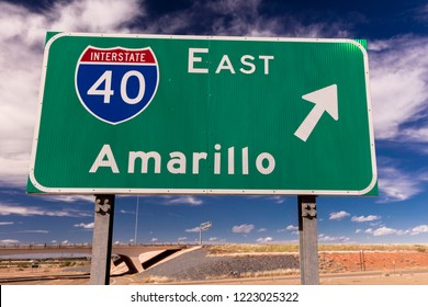 OCTOER 10, 2018 - Amarillo Texas, USA - Interstate 40 to Amarillo Texas on Highway 40