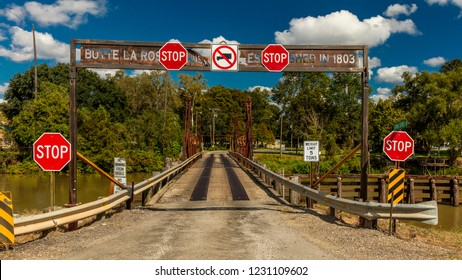 OCTOER 10, 2018 - Butte La Rose, St. Martin Parish, Louisiana outside of New Orleans founded 1803. Old bridge with signage.