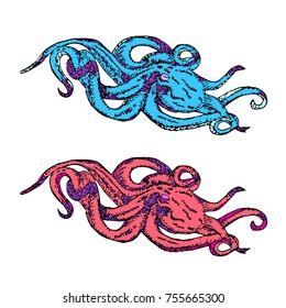 Octopus icon illustration. Doodle style. Design, print, logo, decor, textile, paper
