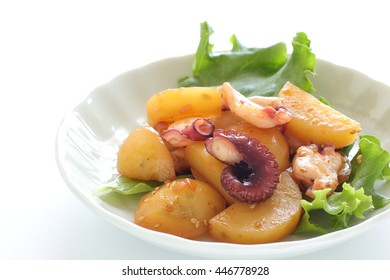 octopus and potato stir fried with chili pepper