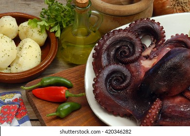 Octopus with potatoes, a typical food from Canary islands