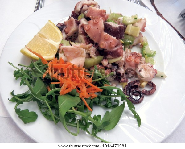 Octopus salad with carrots and lettuce on white plate in Venice, Italy