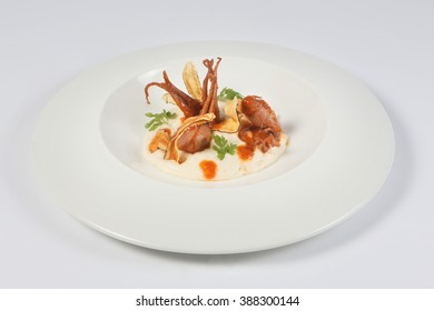 Octopus stew and mashed plantain