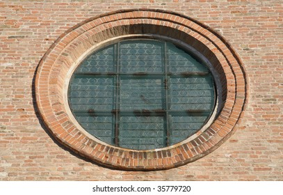 Oculum, a sort of circular window, a typical architectural decoration on Romanesque church facades