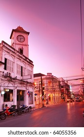 Od building in Phuket town twilight, Thailand