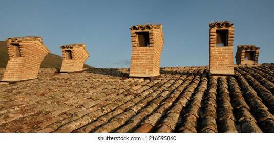 Od style chimneys and tiles on house roof