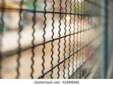 od style of steel fence door inside street