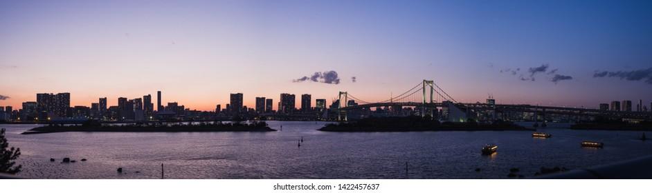 Odaiba bay twilight panorama from Tokyo Japan