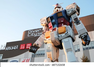 ODAIBA, JAPAN - 10 JANUARY 2016. The legend of Gundam RX-78-2. The real size model of Gundam robot in Odaiba, Tokyo. Now this Gundam has been torn down in March 2017.