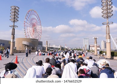 Odaiba, Japan- August 10, 2019: People wait in line for the event to be opened in Odaiba.