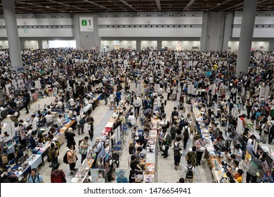 Odaiba, Japan- August 10, 2019: People browse the vast selection of goods in Odaiba.