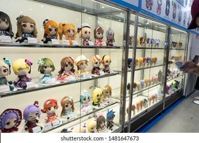 Odaiba, Japan- August 10, 2019: Dolls on display at an event in Odaiba.