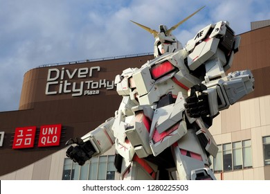 Odaiba, Japan - December 9,2018: A new Unicorn Gundam model RX-0 in front of Diver City Tokyo.