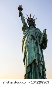 ODAIBA, JAPAN - FEBRUARY 18, 2019 : Statue of Liberty located in Odaiba, Tokyo, Japan since year 2000. The Statue of Liberty is meant to show the strongest relationship between Japan and France