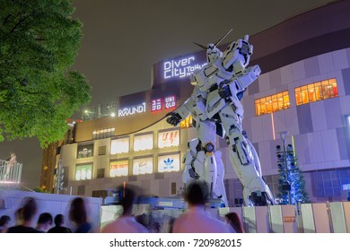 Odaiba Japan - September 04 2017: New Unicorn Gundam Full-size 1/1 scale at Diver City, Odaiba, Tokyo, Japan