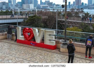 Odaiba, Tokyo / Japan - 2 25 2018: LOVE display at Odaiba shopping mall