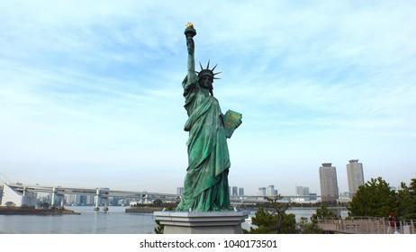 ODAIBA, TOKYO, JAPAN - CIRCA MARCH 2018 : Replica of the statue of Liberty at ODAIBA area.