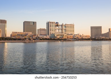Odaiba, Tokyo , Japan - February 16, 2015 :Odaiba is a popular shopping and entertainment district on a man made island in Tokyo Bay.