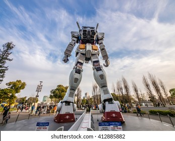 ODAIBA, TOKYO, JAPAN - MARCH 30, The back part of 18-meter Mobile Suit Gundam RX78 robot in front of DiverCity Tokyo Plaza, Odaiba. Gundam is a well-known Japanese robot animation.