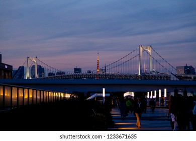 Odaiba ,Tokyo, Japan - Nov 17 2018 - View of tokyo skytree and rainbow bridge at twilight at Odaiba