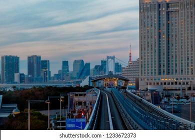 Odaiba ,Tokyo, Japan - Nov 17 2018 - View of odiba railway