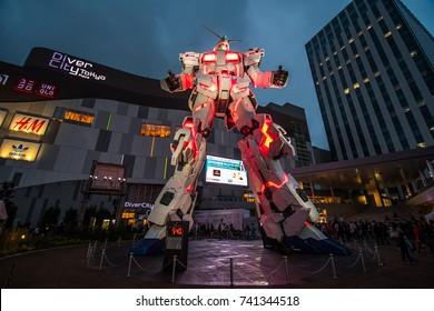 Odaiba, Tokyo, Japan - October 14, 2017 : Unicorn Gundam In the Dark on Destroy Mode.