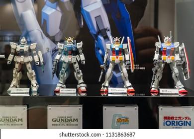 "Odaiba,Tokyo, Japan-Jul 1 2018:The display of Mobile Suit Gundam in Gundam shopping center called ""THE GUNDAM BASE"""