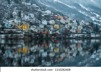 Odda Norway Fjord colorful houses reflection