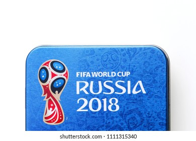 Odder, Denmark - June 12, 2018: Russia World Cup 2018 logo