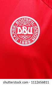 Odder, Denmark - June 14, 2018: Emblem of the Danish national football team on a shirt
