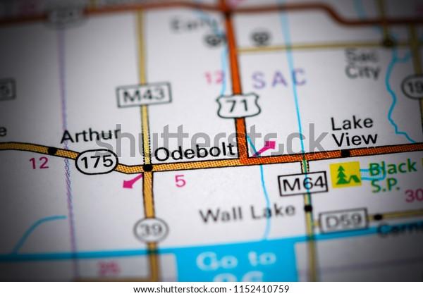 Odebolt. Iowa. USA on a map