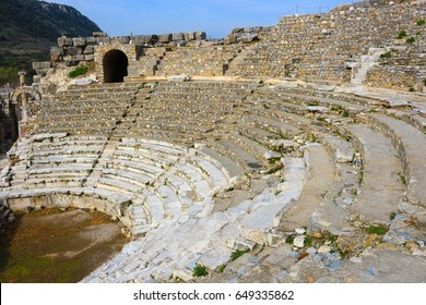 Odeion concert hall and council chamber at the Ruins in Ephesus, Turkey, in the Middle East