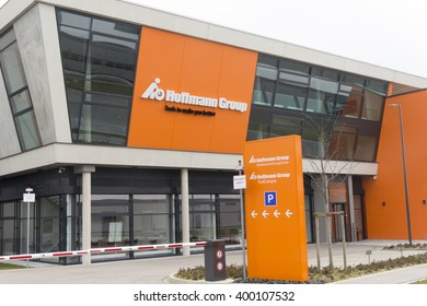 ODELZHAUSEN, GERMANY - APRIL 3: The logo of Hoffmann Group company is displayed on the showroom in Odelzhausen, Germany on April 3rd, 2016.