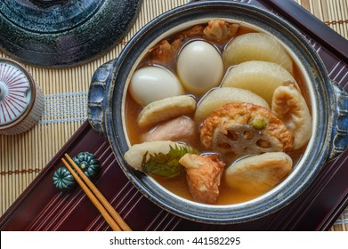 Oden  is a Japanese winter dish consisting of several ingredients such as boiled eggs, daikon, konjac, and  fishcakes stewed in a light,  dashi broth. Ingredients vary according to region.