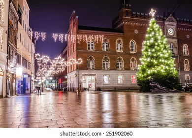 Odense Christmas Lights and Christmas Tree in front of the Town Hall