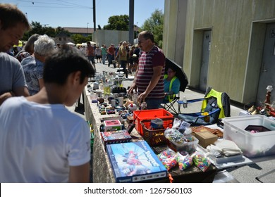 Odense, DENMARK - 15 JULY, 2018: very popular flea market in the center of Odense
