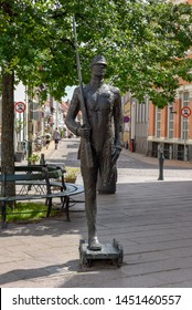 Odense, Denmark - 24 June 2019: the tin soldier statue from the tale of writer H.C. Andersen at Odense on Denmark