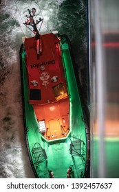 Odense - Denmark April 28 2019: Danish pilot leaves a ship in the middle of the night