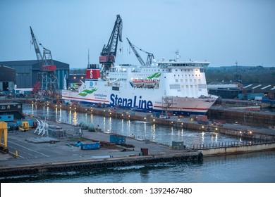 Odense - Denmark April 28 2019: Jutlandica is one of Stena Line's ships located in the shipyard in the Danish Odense