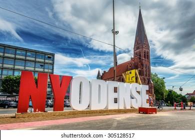 ODENSE, DENMARK - AUGUST 11, 2015: NYODENSE streetart.