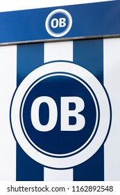 Odense, Denmark - August 16, 2018: Odense boldklub logo on a wall. Odense boldklub is a Danish professional football club based in the city Odense and playing currently in superliga